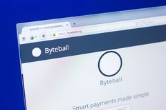 Ryazan, Russia - March 29, 2018 - Homepage of Byteball crypty currency on the display of PC, web addres - byteball.org. Ryazan, Russia - March 29, 2018 Stock Photos