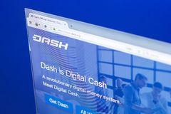 Ryazan, Russia - March 29, 2018 - Homepage of Dash cryptocurrency on PC display, web adress - dash.org. Ryazan, Russia - March 29, 2018 - Homepage of Dash Stock Photography