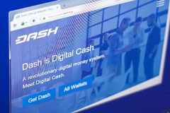 Ryazan, Russia - March 29, 2018 - Homepage of Dash cryptocurrency on PC display, web adress - dash.org. Ryazan, Russia - March 29, 2018 - Homepage of Dash Royalty Free Stock Photography