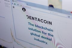 Ryazan, Russia - March 29, 2018 - Homepage of Dentacoin on the PC display, web address - dentacoin.com.  Royalty Free Stock Images