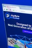 Ryazan, Russia - March 29, 2018 - Homepage of DigiByte crypto currency on the display of PC, web address - digibyte.co.  royalty free stock images