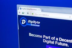 Ryazan, Russia - March 29, 2018 - Homepage of DigiByte crypto currency on the display of PC, web address - digibyte.co.  Stock Photos