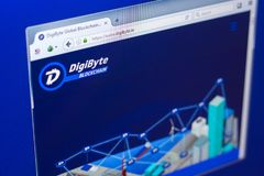 Ryazan, Russia - March 29, 2018 - Homepage of DigiByte crypto currency on the display of PC, web address - digibyte.co.  stock photography