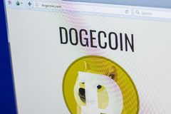 Ryazan, Russia - March 29, 2018 - Homepage of DogeCoin crypto currency on the PC display, web address - dogecoin.com.  stock photo