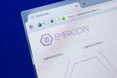 Ryazan, Russia - March 29, 2018 - Homepage of Emercoin crypto currency on the PC display, web address - emercoin.com.  Royalty Free Stock Image