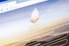 Ryazan, Russia - March 29, 2018 - Homepage of EOS cryptocurrency on the display of PC, web adress - eos.io. Ryazan, Russia - March 29, 2018 - Homepage of EOS Stock Image