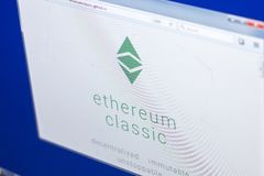 Ryazan, Russia - March 29, 2018 - Homepage of Ethereum Classic on PC display, adress - ethereumclassic.org. Ryazan, Russia - March 29, 2018 - Homepage of Stock Photo