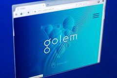 Ryazan, Russia - March 29, 2018 - Homepage of Golem crypto currency on the PC display, web address - golem.network.  stock photo