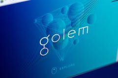 Ryazan, Russia - March 29, 2018 - Homepage of Golem crypto currency on the PC display, web address - golem.network.  stock photography