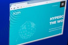 Ryazan, Russia - March 29, 2018 - Homepage of Icon cryptocurrency on PC, web adress - icon.foundation. Ryazan, Russia - March 29, 2018 - Homepage of Icon Royalty Free Stock Image
