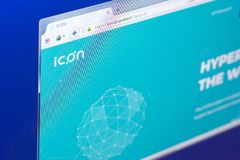 Ryazan, Russia - March 29, 2018 - Homepage of Icon cryptocurrency on PC, web adress - icon.foundation. Ryazan, Russia - March 29, 2018 - Homepage of Icon Stock Photos