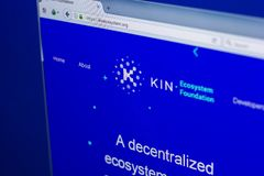 Ryazan, Russia - March 29, 2018 - Homepage of Kin crypto currency on the display of PC, web address - kinecosystem.org.  Stock Photos