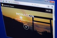 Ryazan, Russia - March 29, 2018 - Homepage of Monacoin crypto currency on the display of PC, web address - monacoin.org.  Stock Images