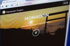 Ryazan, Russia - March 29, 2018 - Homepage of Monacoin crypto currency on the display of PC, web address - monacoin.org.  royalty free stock photos