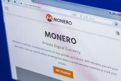 Ryazan, Russia - March 29, 2018 - Homepage of Monero cryptocurrency on PC display, web adress - getmonero.org. Ryazan, Russia - March 29, 2018 - Homepage of Stock Photo