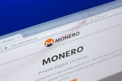 Ryazan, Russia - March 29, 2018 - Homepage of Monero cryptocurrency on PC display, web adress - getmonero.org. Ryazan, Russia - March 29, 2018 - Homepage of Stock Image