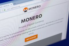 Ryazan, Russia - March 29, 2018 - Homepage of Monero cryptocurrency on PC display, web adress - getmonero.org. Ryazan, Russia - March 29, 2018 - Homepage of Royalty Free Stock Image