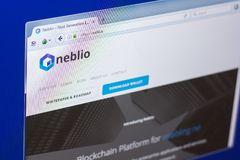 Ryazan, Russia - March 29, 2018 - Homepage of Neblio crypto currency, web address - nebl.io. Ryazan, Russia - March 29, 2018 - Homepage of Neblio crypto Royalty Free Stock Images
