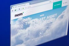 Ryazan, Russia - March 29, 2018 - Homepage of Nem cryptocurrency on PC display, web adress - nem.io.  Royalty Free Stock Photo
