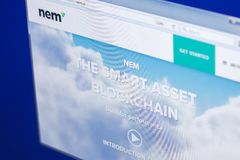 Ryazan, Russia - March 29, 2018 - Homepage of Nem cryptocurrency on PC display, web adress - nem.io.  Stock Images