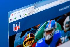 Ryazan, Russia - March 28, 2018 - Homepage of NFL National Football League on the display of PC, web address - nfl.com. Ryazan, Russia - March 28, 2018 royalty free stock photos