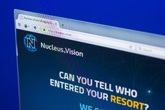 Ryazan, Russia - March 29, 2018 - Homepage of Nucleus Vision crypto currency on the display of PC, web - nucleus.vision. Ryazan, Russia - March 29, 2018 royalty free stock image
