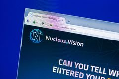 Ryazan, Russia - March 29, 2018 - Homepage of Nucleus Vision crypto currency on the display of PC, web - nucleus.vision. Ryazan, Russia - March 29, 2018 stock photography