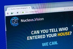 Ryazan, Russia - March 29, 2018 - Homepage of Nucleus Vision crypto currency on the display of PC, web - nucleus.vision. Ryazan, Russia - March 29, 2018 royalty free stock images