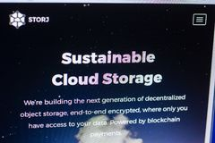 Ryazan, Russia - March 29, 2018 - Homepage of Storj crypto currency on the display of PC, web address - storj.io.  Stock Photos