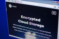 Ryazan, Russia - March 29, 2018 - Homepage of Storj crypto currency on the display of PC, web address - storj.io.  royalty free stock photos