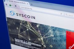 Ryazan, Russia - March 29, 2018 - Homepage of Syscoin crypto currency on the PC display, web address - syscoin.org.  Stock Images