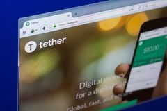 Ryazan, Russia - March 29, 2018 - Homepage of Tether cryptocurrency on PC display, web adress - tether.to. Ryazan, Russia - March 29, 2018 - Homepage of Tether Royalty Free Stock Image