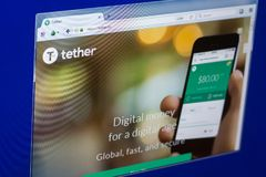 Ryazan, Russia - March 29, 2018 - Homepage of Tether cryptocurrency on PC display, web adress - tether.to. Ryazan, Russia - March 29, 2018 - Homepage of Tether Royalty Free Stock Photography