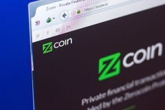 Ryazan, Russia - March 29, 2018 - Homepage of Zcoin crypto currency on the PC display, web address - zcoin.io. Ryazan, Russia - March 29, 2018 - Homepage of stock photos