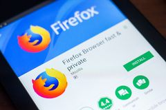 Ryazan, Russia - March 21, 2018 - Mozilla Firefox browser mobile app on the display of tablet PC. Ryazan, Russia - March 21, 2018 - Mozilla Firefox browser stock photography