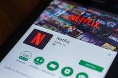 Ryazan, Russia - March 21, 2018 - Netflix mobile app on the display of tablet PC. Ryazan, Russia - March 21, 2018 - Netflix mobile app on the display of tablet stock images