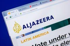 Ryazan, Russia - May 20, 2018: Homepage of Aljazeera website on the display of PC, url - Aljazeera.com. Ryazan, Russia - May 20, 2018: Homepage of Aljazeera royalty free stock photography