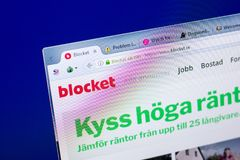 Ryazan, Russia - May 27, 2018: Homepage of Blocket website on the display of PC, url - Blocket.se. Ryazan, Russia - May 27, 2018: Homepage of Blocket website on stock photo