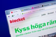 Ryazan, Russia - May 27, 2018: Homepage of Blocket website on the display of PC, url - Blocket.se. Ryazan, Russia - May 27, 2018: Homepage of Blocket website on royalty free stock images