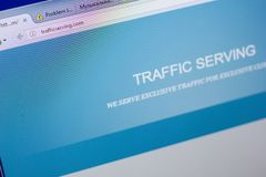 Ryazan, Russia - May 20, 2018: Homepage of TrafficServing website on the display of PC, url - TrafficServing.com. Ryazan, Russia - May 20, 2018: Homepage of royalty free stock photos
