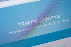 Ryazan, Russia - May 20, 2018: Homepage of TrafficServing website on the display of PC, url - TrafficServing.com. Ryazan, Russia - May 20, 2018: Homepage of royalty free stock images