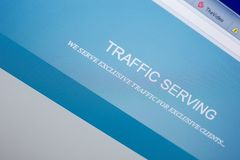 Ryazan, Russia - May 20, 2018: Homepage of TrafficServing website on the display of PC, url - TrafficServing.com. Ryazan, Russia - May 20, 2018: Homepage of royalty free stock photography