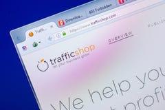Ryazan, Russia - May 20, 2018: Homepage of TrafficShop website on the display of PC, url - TrafficShop.com. Ryazan, Russia - May 20, 2018: Homepage of stock image