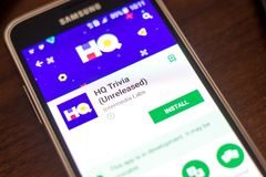 Ryazan, Russia - May 04, 2018: HQ Trivia mobile app on the display of cell phone. Ryazan, Russia - May 04, 2018: HQ Trivia mobile app on the display of cell royalty free stock photo