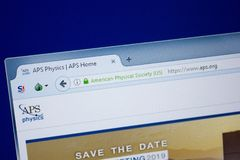 Ryazan, Russia - September 09, 2018: Homepage of Aps website on the display of PC, url - Aps.org.  royalty free stock photo
