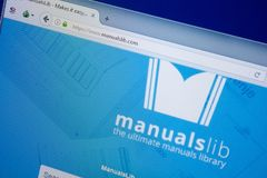 Ryazan, Russia - September 09, 2018: Homepage of Manuals Lib website on the display of PC, url - ManualsLib.com.  stock photo