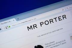 Ryazan, Russia - September 09, 2018: Homepage of Mr Porter website on the display of PC, url - MrPorter.com.  stock photo