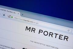 Ryazan, Russia - September 09, 2018: Homepage of Mr Porter website on the display of PC, url - MrPorter.com.  royalty free stock photo