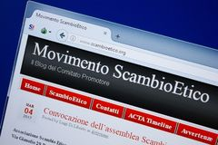 Ryazan, Russia - September 09, 2018: Homepage of Scambio Etico website on the display of PC, url - ScambioEtico.org.  royalty free stock photography