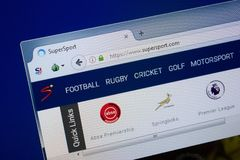 Ryazan, Russia - September 09, 2018: Homepage of Super Sport website on the display of PC, url - SuperSport.com.  royalty free stock image